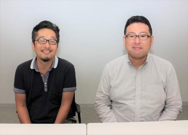 隅田川花火大会中継プロデューサーの小高亮氏(左)と同アシスタントプロデューサーの水野亮太氏(右)