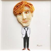 「Mattさんおにぎりです! 彼のウルっとした大きな瞳は、お好み焼きソースで再現しました〜」 制作&写真/堀はるか