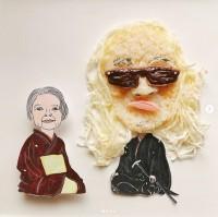 「内田裕也さんおにぎりです!カニカマか?素麺か?迷いましたが、やっぱりさきいかヘアの方が、断然しっくり来ます」制作&写真/堀はるか