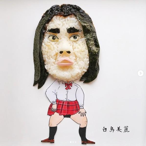 「docomoギガホの新CMに出演している渡辺直美さん扮する白鳥美麗おにぎりです!眉毛はヒジキを盛って、白鳥美麗感を出しました」制作&写真/堀はるか