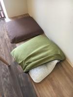 ドッグケアカフェ「meet ぐらんわん!」のクッションは高反発素材、床ずれしにくく老犬のベッドにも最適