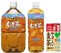 (左から)伊藤園『健康ミネラルむぎ茶』の1リットル、670ミリリットルサイズ、サントリー食品『グリーン ダ・カ・ラ やさしい麦茶 濃縮タイプ』