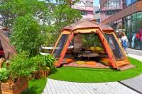 複合施設「渋谷キャスト」の広場に設置されているキャンピングオフィス