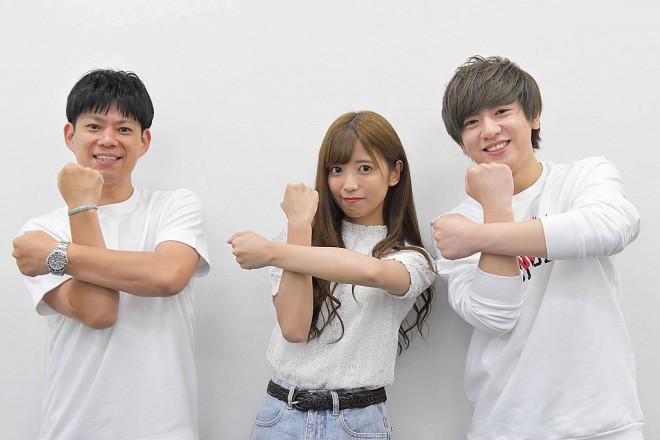 右から、ヴァンビ、ゆん、三浦明氏(太田プロダクション 開発事業部 兼 GO AND GO)