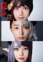 『KATE』コスプレメイクブックで、オリジナルコスプレを披露した(上から)ゆう、宇垣美里、シスル