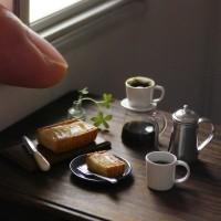 【ミニチュア】コーヒードリップセット・洋梨タルト 制作&写真/田波亨(Petit Palm)