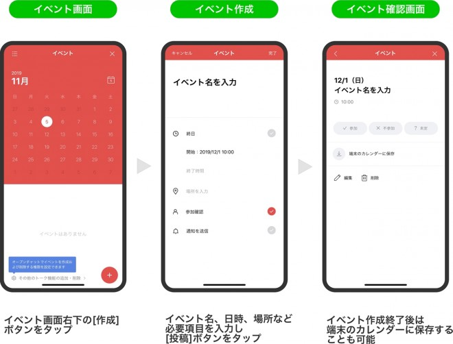 <LINE『OpenChat』使い方>イベント名、日時、場所などを共有できる「イベント機能」
