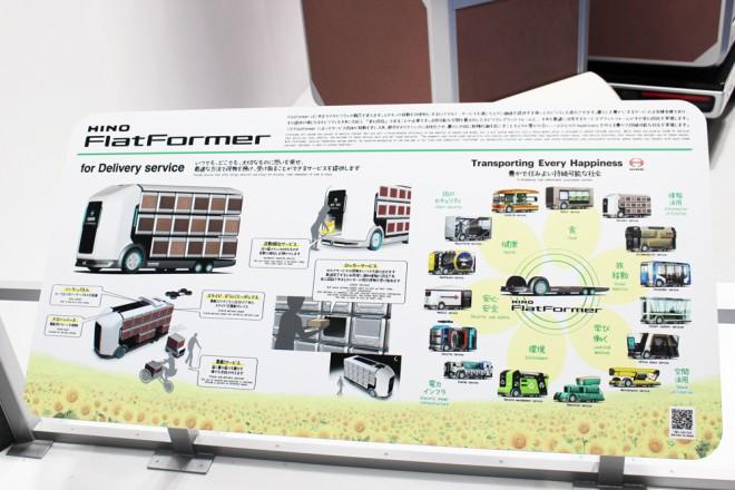 「第46回東京モーターショー2019」の日野自動車ブースで展示された『FlatFormer』パネル