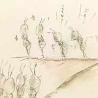 働きアリの内定式3/『ゆるふわ昆虫図鑑』(作者:じゅえき太郎)より