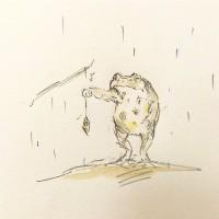 ミノムシとヒキガエル2/『ゆるふわ昆虫図鑑』(作者:じゅえき太郎)より