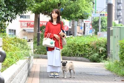 """飼い主役の深川麻衣とは、撮影の合間によく散歩に出かけていたそう。撮影が終わってからは、""""太郎ロス""""になっていたとか (C)カンテレ"""