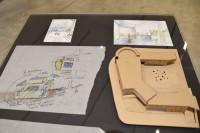 構想段階のイラスト・デザインと初期の模型(建築倉庫ミュージアム『Steven Holl:Making Architecture』より)
