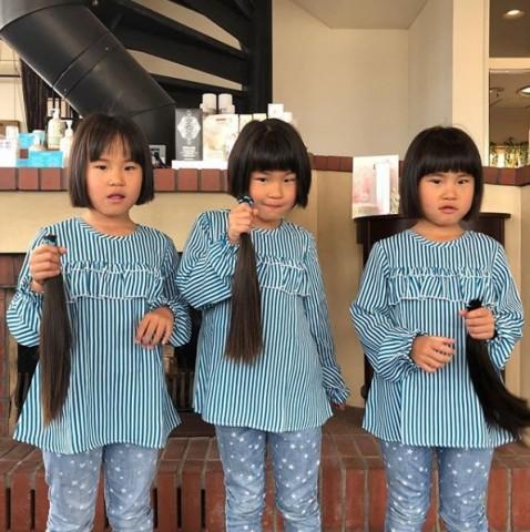 揃って3年間伸ばした髪を寄付した子供たち