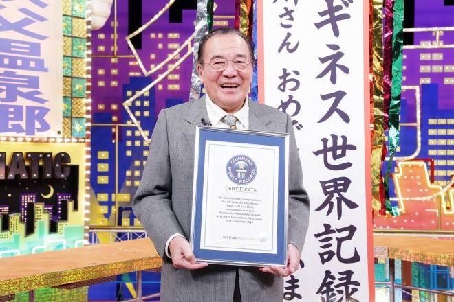 2014年9月『アド街』で情報テレビ番組の最高齢司会者に…当時80歳、ギネス認定された愛川欽也さん (C)テレビ東京