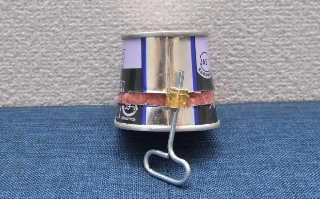 ノザキのコンビーフ「枕缶」【開け方�D】「巻き取り鍵」で1周巻く