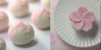 (左)『早桜』 練り切り製 小豆渡し餡 (右)桜モチーフの和菓子