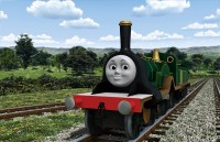 緑のボディがピカピカの女の子蒸気機関車「エミリー」