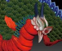 長野県「岩松院」にある葛飾北斎の天井画『八方睨み鳳凰図』を3Dプリンターで立体化した際の仮案データ。追視効果が今ひとつ?