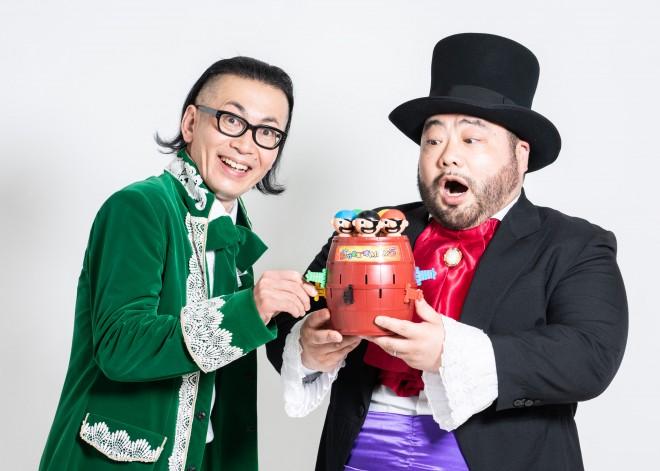 2020年の新商品『超飛び黒ひげ危機一発MAX5』のプロモーションを行う髭男爵