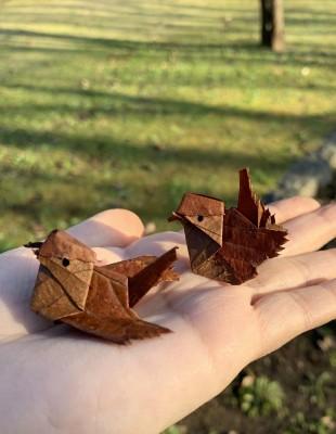 枯れた桜の落ち葉で作ったスズメ