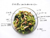 「小松菜としめじのめんつゆバター」『#おえかきレシピ』(@__mo_chi)より