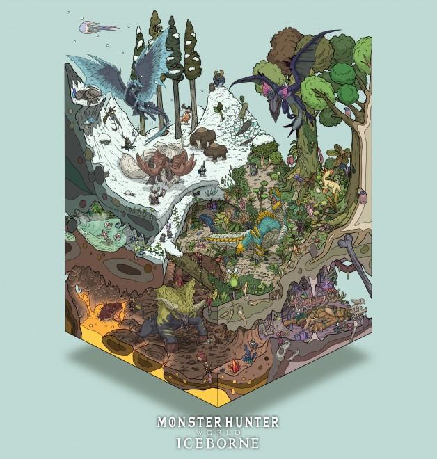 『モンスターハンターフェスタ'19-'20』イラストコンテストアイスボーン部門で最優秀賞を受賞したゴズさんの箱庭ヴィネット
