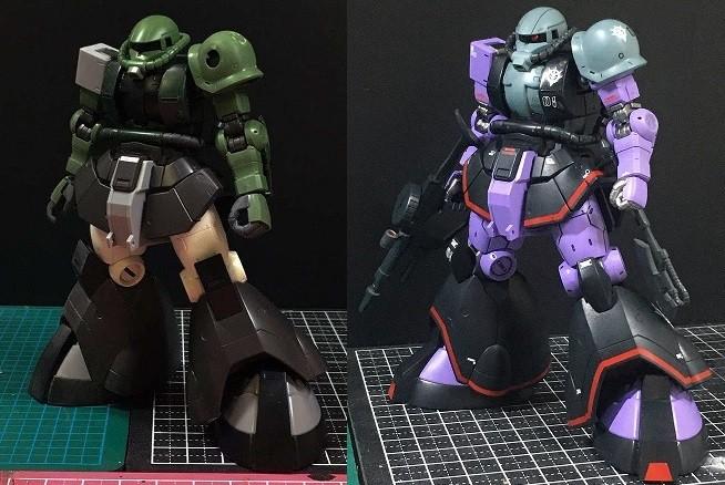 塗装前(左)と塗装後(右) 制作・画像提供/dach氏 (C)創通・サンライズ