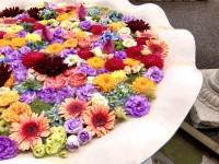 色とりどりの花手水