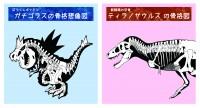 「ガチゴラス」の骨格想像図とティラノサウルスの骨格図の比較ビジュアル