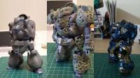 写真左から、下書き→彫り→塗装