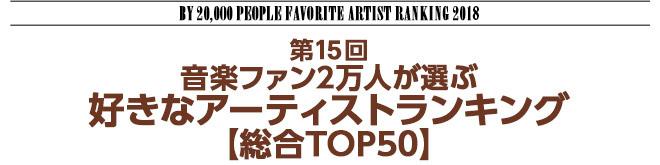 """第15回 音楽ファン2万人が選ぶ""""好きなアーティストランキング""""2018【総合TOP20】"""