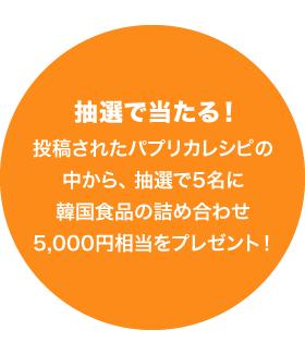 抽選で当たる!投稿されたパプリカレシピの中から、抽選で5名に韓国食品の詰め合わせ5,000円相当をプレゼント!