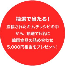 抽選で当たる!投稿されたキムチレシピの中から、抽選で5名に韓国食品の詰め合わせ5,000円相当をプレゼント!