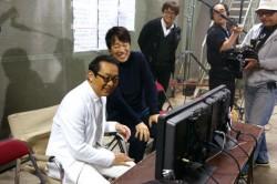 撮影現場でのさだまさしと田中光敏監督