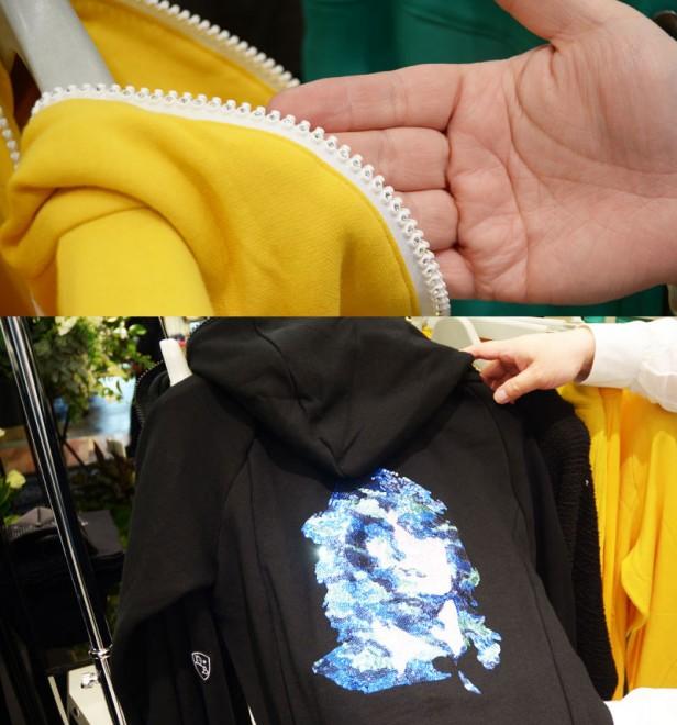 パーカーを中心に展開するブランドDartin Bonaparto(ダルタンボナパルト)』。ファスナー部分にもこだわりのスワロフスキーをあしらう(写真上)。スパンコールも繊細な刺繍によりデザインしたバックスタイル(写真下)。
