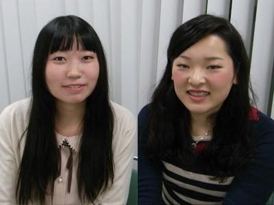 看護学部の田中彩佳さん、高木裕加さん