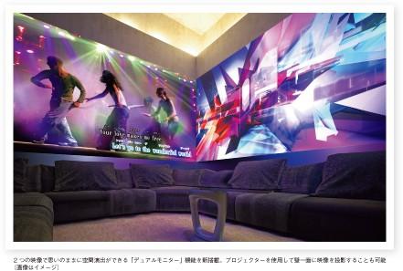 2 つの映像で思いのままに空間演出ができる「デュアルモニター」機能を新搭載。プロジェクターを使用して壁一面に映像を投影することも可能 (画像はイメージ)