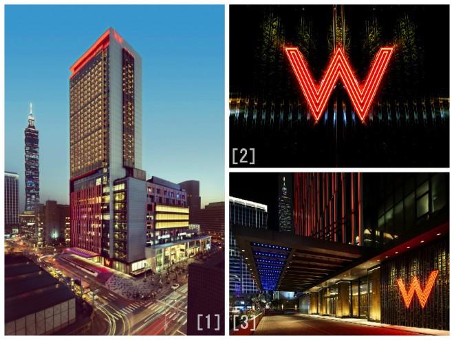 [1]世界で2番目に高い「台北101」のすぐそこにあるホテル [2][3]入口にあるWの文字が印象的!
