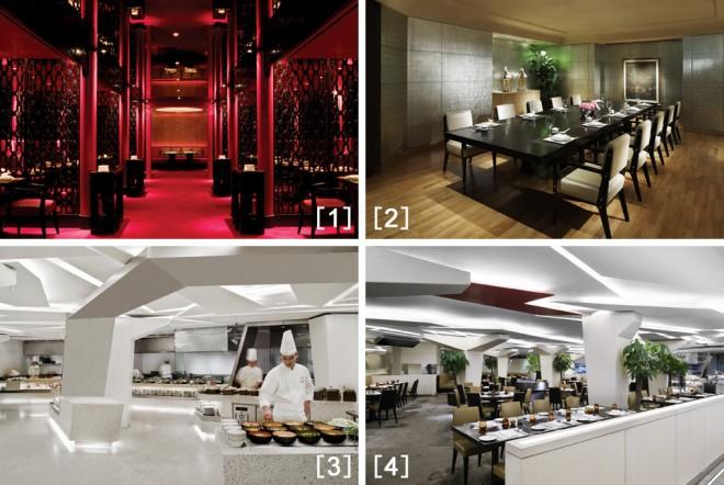 [1]と[2]個室も多数ある洗練されたデザインの中華料理「紅縁」[3]と[4]中華から洋食や日本食まで様々な料理が楽しめるビュッフェスタイルの「アリア」