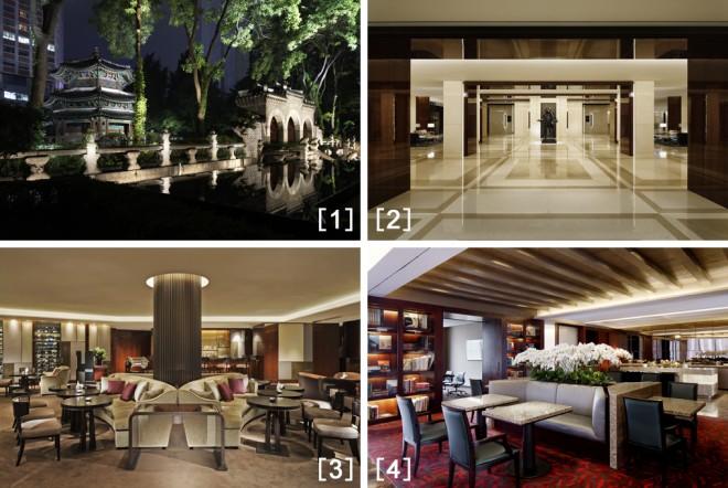 [1]ホテルの敷地内にある史跡・圜丘壇[2]モダンで落ち着いた雰囲気のロビー[3]ロビーラウンジ「The Circle」[4]「ウェスティンエグゼクティブクラブ」のロビー