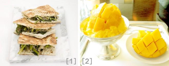 [1]「ヴェッキア・エ・ヌーボー」のサンドイッチ[2]ロビーラウンジ「The Circle」のマンゴーパッピンス