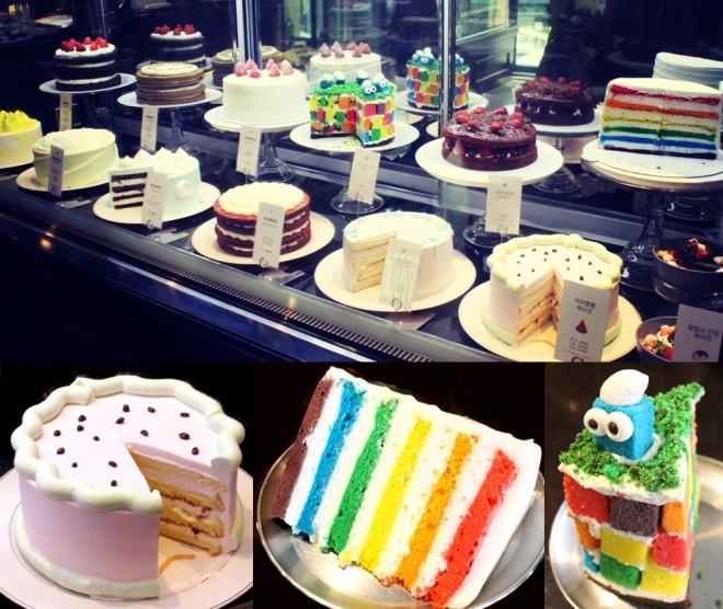 カラフルなケーキがキュート!サイズが大きいので友達とシェアしていろいろな味を試してみては?!