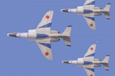 人気の「T-4 ブルーインパルス」も3D飛行機で見事に再現