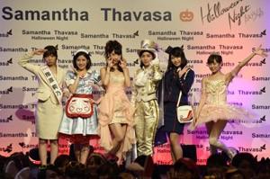 サマンサタバサ主催のハロウィンイベントにサプライズ登場したAKB48(左から)指原莉乃、渡辺麻友、柏木由紀、松井珠理奈、横山由依、渡辺美優紀