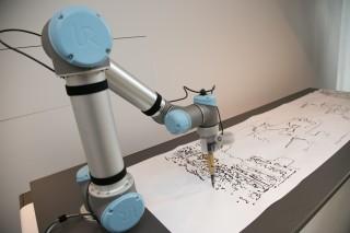 ロボットを使用するインスタレーション『day2day』。共有の思いを画像へ変換して、時間と場所の美しさを表現