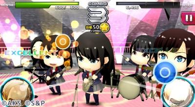 『AKB48グループ ついに公式音ゲーでました。』ゲーム画面
