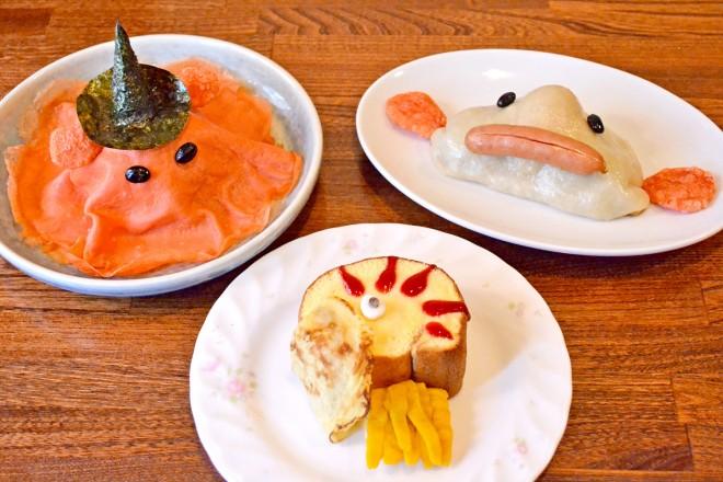 (左から)めんだこちらし寿司、オウムガイロールケーキ、ニュウドウカジカ餃子