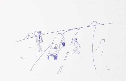 浅野忠信の絵によるオープニングアニメーション