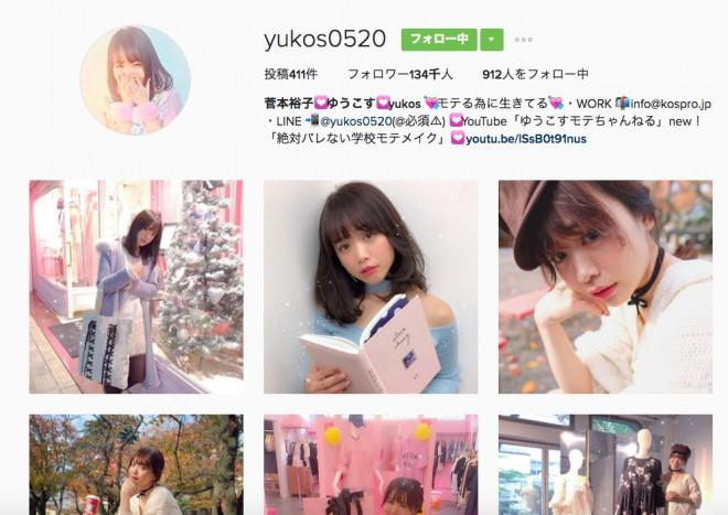 菅本裕子(ゆうこす)のinstagram