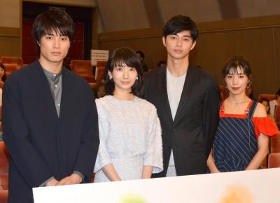 (左から)有島役の鈴木伸之、波瑠、涼太役の東出昌大、有島麗華役の仲 里依紗